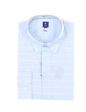 New Mens Footjoy 1857 Stretch Cotton Twill Button Down X-Large XL Blue MSRP $165 27870