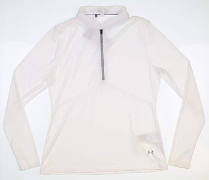 New Womens Under Armour 1/4 Zip Golf Pullover Large L White MSRP $69 UW1435