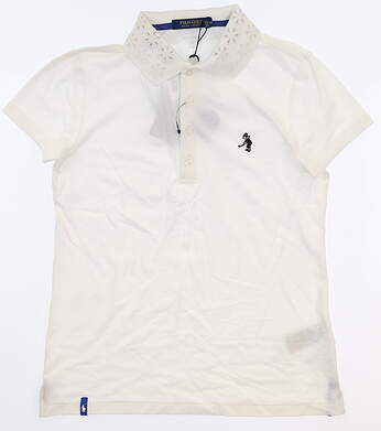 New W/ Logo Womens Ralph Lauren Golf Polo X-Small XS White MSRP $100
