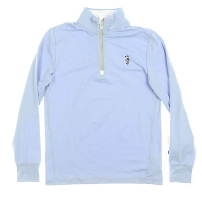 New W/ Logo Youth Ralph Lauren 1/4 Zip Boys Golf Pullover Small Blue (8) MSRP $59