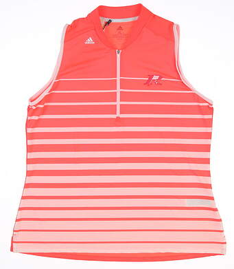 New W/ Logo Womens Adidas Sleeveless Polo X-Large XL Pink MSRP $60 FJ4887