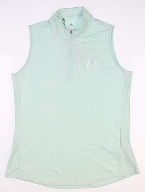 New W/ Logo Womens Adidas Half Zip Sleeveless Polo Large L Mint MSRP $60 FK0631