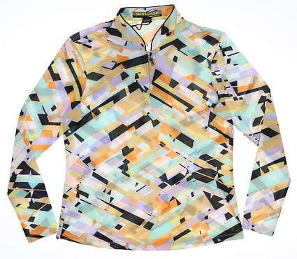 New Womens Jamie Sadock 1/4 Zip Pullover Small S Multi MSRP $90 91143