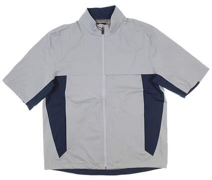 New Mens Greg Norman Short Sleeve Rain Jacket Medium M Gray MSRP $100 G7S8J045