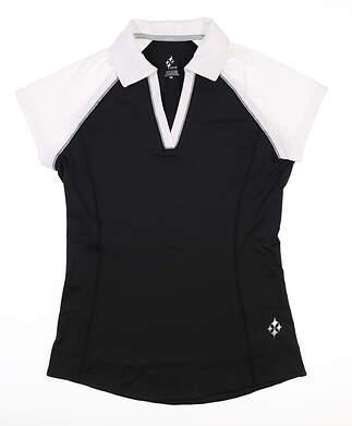 New Womens Jo Fit Blocked Jacquard Golf Polo X-Small XS Black MSRP $80 GT166-BNW