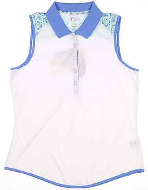 New Womens Greg Norman Sleeveless Polo Medium M White/Blue MSRP $65