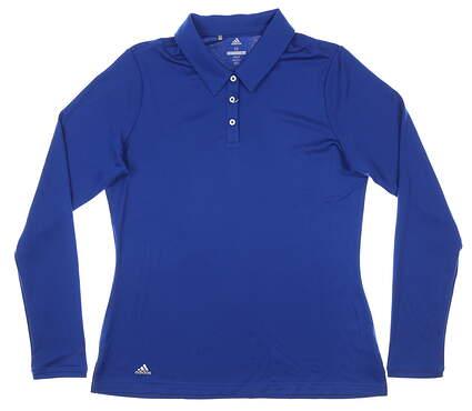 New Womens Adidas Long Sleeve Polo Medium M Blue MSRP $65 CD3443