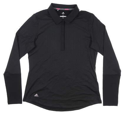 New Womens Adidas Long Sleeve Polo Medium M Black MSRP $65 CW6744