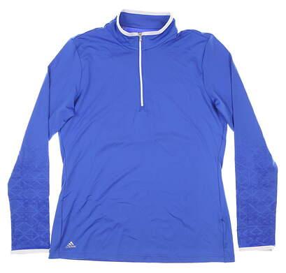 New Womens Adidas 1/4 Zip Pullover Medium M Blue MSRP $65 CW0584