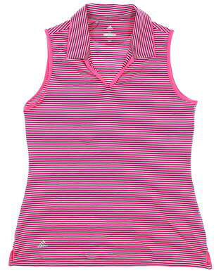 New Womens Adidas Sleeveless Polo Medium M Pink MSRP $55 CW6662