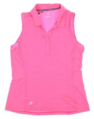 New Womens Adidas Sleeveless Polo Medium M Pink MSRP $55 CY5371
