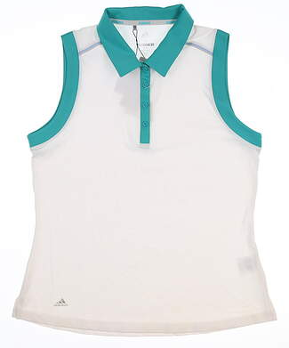 New Womens Adidas Sleeveless Polo Medium M White/Green MSRP $55 CW6665