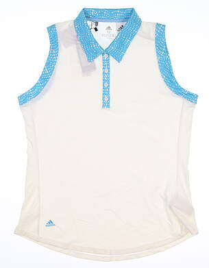 New Womens Adidas Sleeveless Polo Medium M White MSRP $55 DU7895