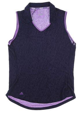 New Womens Adidas Sleeveless Polo Medium M Navy Blue MSRP $55 DP5801