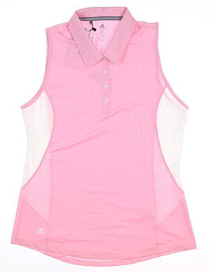 New Womens Adidas Sleeveless Polo Medium M Pink MSRP $55 DQ0549