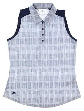 New Womens Adidas Sleeveless Polo Medium M Navy Blue MSRP $55 DQ0489
