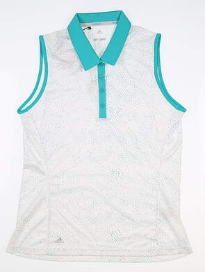 New Womens Adidas Sleeveless Polo Medium M White/Green MSRP $55 CW6668