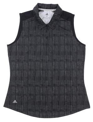 New Womens Adidas Sleeveless Polo Medium M Black MSRP $55 DW9474