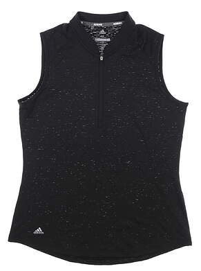New Womens Adidas Sleeveless Polo Medium M Black MSRP $55 CD3495