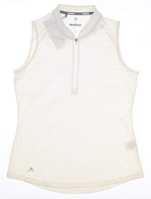 New Womens Adidas Sleeveless Polo Medium M White MSRP $55 CD4033