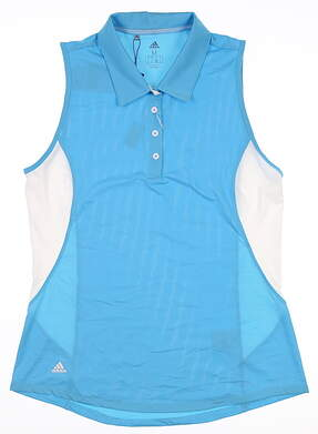 New Womens Adidas Sleeveless Polo Medium M Blue MSRP $55 DQ0550