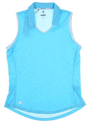 New Womens Adidas Sleeveless Polo Medium M Blue MSRP $55 DQ0545