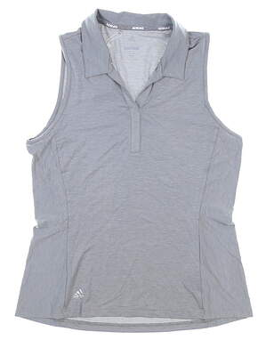 New Womens Adidas Sleeveless Polo Medium M Gray MSRP $55 CD9562