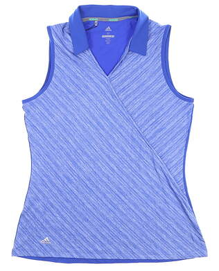 New Womens Adidas Sleeveless Polo Medium M Blue MSRP $55 CD3399
