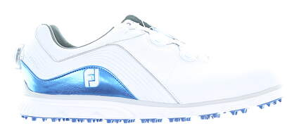 New Mens Golf Shoe Footjoy Pro SL BOA Medium 9.5 White/Blue MSRP $190 53274
