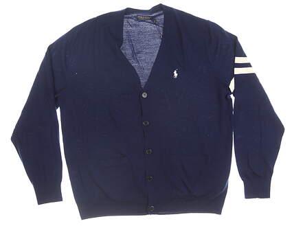 New Mens Ralph Lauren Magnolia Lane Cardigan Large L Navy MSRP $180