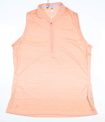 New Womens Adidas Novelty Sleeveless Polo Large L Orange MSRP $69 DZ6307