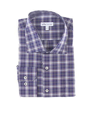 New Mens Peter Millar Button Up X-Large XL Maroon/Navy Blue MSRP $145