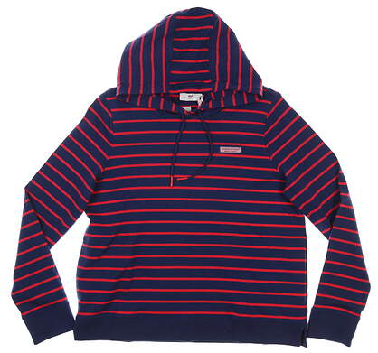 New Womens Vineyard Vines Break Stripe Sweatshirt Medium M Lighthouse Red/Navy Blue MSRP $108