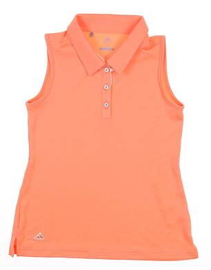 New Youth Adidas Girls Sleeveless Golf Polo Medium M Orange MSRP $35 CE5346