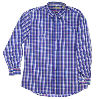 New W/ Logo Mens DONALD ROSS Button Down Medium M Blue MSRP $120 DR620-120
