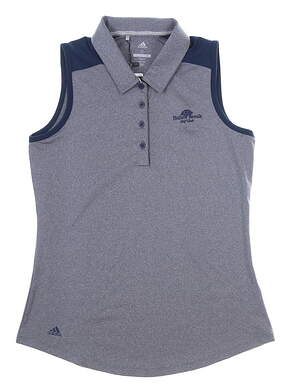 New W/ Logo Womens Adidas Ultimate Heather Sleeveless Polo Small S Navy MSRP $55 DQ0530