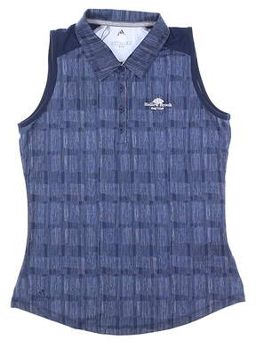New W/ Logo Womens Adidas Ultimate Print Sleeveless Polo Small S Navy MSRP $60 DP5913