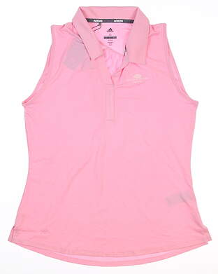 New W/ Logo Womens Adidas Heather Sleeveless Polo Medium M Pink MSRP $60 DP5926