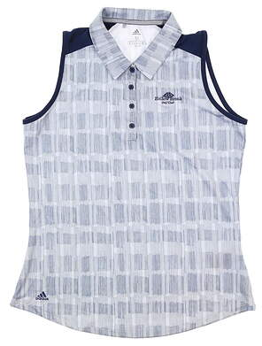 New W/ Logo Womens Adidas Sleeveless Polo Medium M Blue MSRP $60