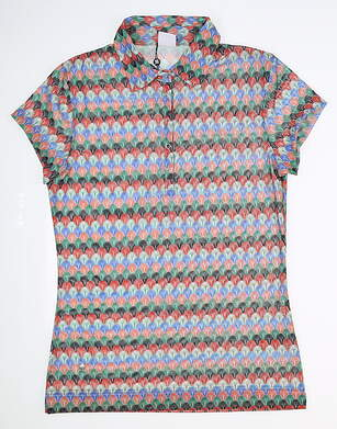New Womens Daily Sports Jacey Mesh Polo Large L Multi MSRP $80 883/126