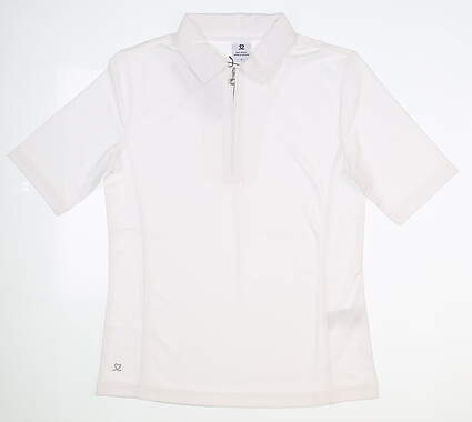 New Womens Daily Sports Macy 1/2 Sleeve Polo Small S White MSRP $72 001/104