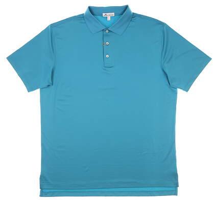 New Mens Peter Millar Golf Polo Large L Blue MSRP $85 MF18EK01
