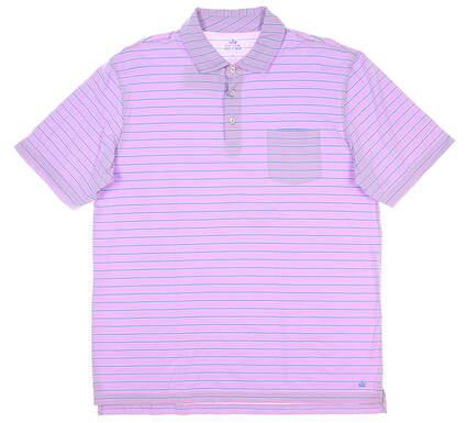 New Mens Peter Millar Seaside Wash Polo Large L Purple MSRP $85 MS18K73P