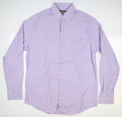 New Mens Peter Millar Summer Comfort Button Down Large L Purple MSRP $145