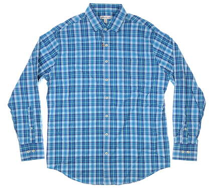 New Mens Peter Millar Button Down Large L Blue MSRP $145