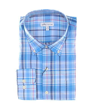 New Mens Peter Millar Button Down X-Large XL Blue MSRP $148 MS20W06NBL