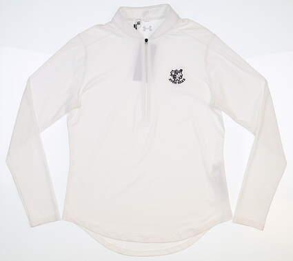 New W/ Logo Womens Under Armour 1/2 Zip Pullover Medium M White MSRP $75 UW1229