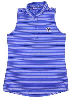 New W/ Logo Womens Under Armour Sleeveless Polo Medium M Blue MSRP $65 UW0490