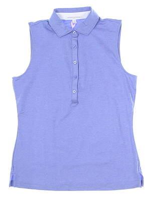 New Womens Fairway & Greene Natalie Tech Jersey Sleeveless Polo Medium M Blue MSRP $90 E32230