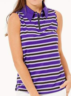New Womens Belyn Key Keystone Sleeveless Polo Medium M Purple MSRP $98 TSL0011-BRS